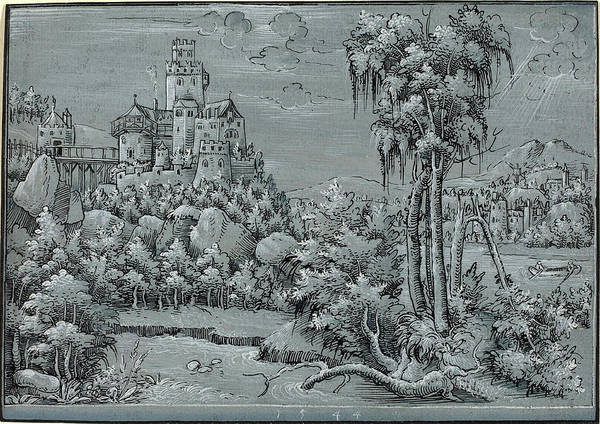 Prepare Drawing - German 16th Century, Landscape With A Castle by Quint Lox