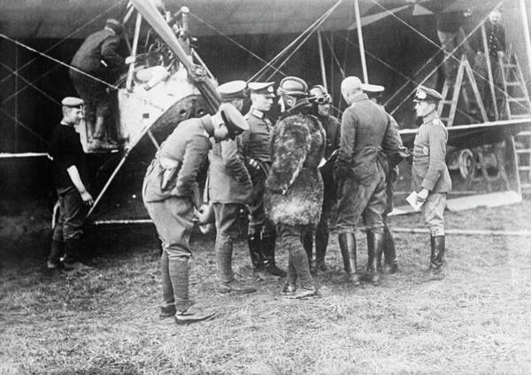 First Officer Photograph - German Aeroplane And Officers by Library Of Congress