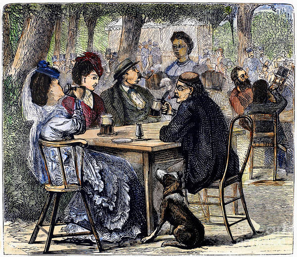 Service Dog Photograph - German Beer Garden, 1870 by Granger