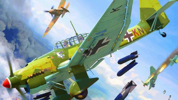 Junkers Digital Art - German Divers Stuka Bomber Pounding by Don Kuing