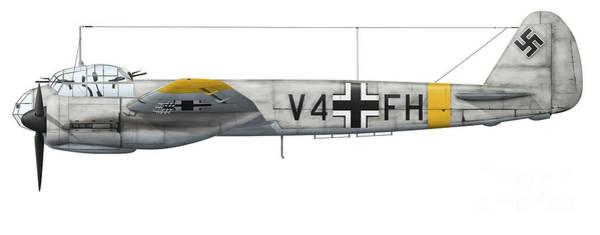Junkers Digital Art - German Junkers Ju-88a-4 Combat Aircraft by Inkworm