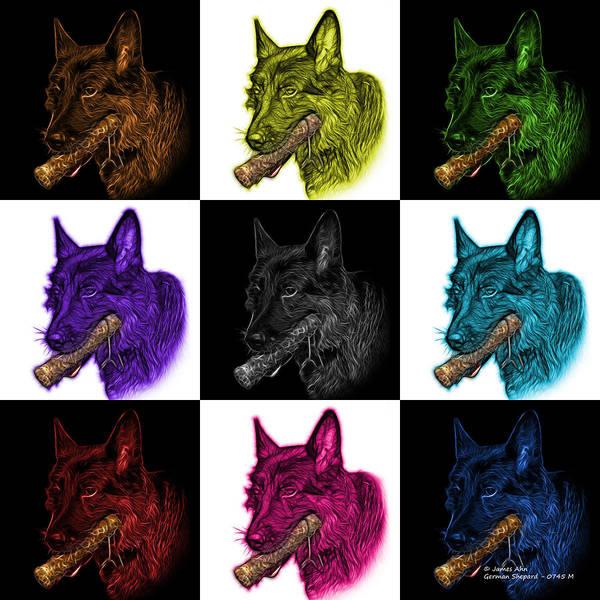 Digital Art - German Shepherd And Toy Mosaic - 0745 F V1 by James Ahn