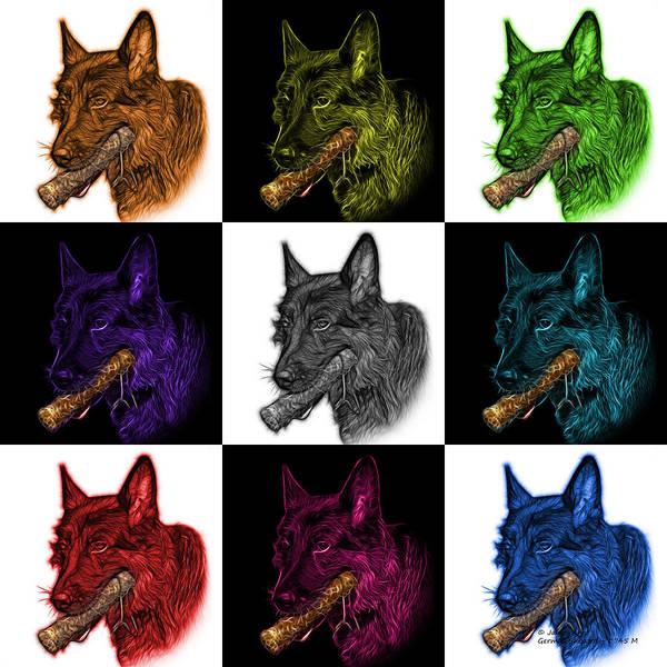 Digital Art - German Shepherd And Toy Mosaic - 0745 F V2 by James Ahn
