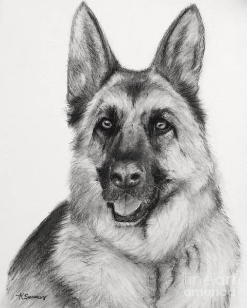 Art Print featuring the drawing German Shepherd Drawn In Charcoal by Kate Sumners
