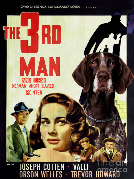 German Pointer Painting - German Short Haired Pointer Art Canvas Print - The Third Man Movie Poster by Sandra Sij