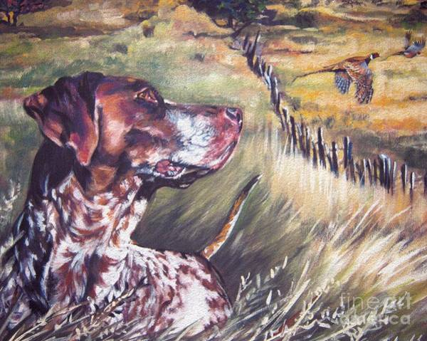 German Pointer Painting - German Shorthaired Pointer And Pheasants by Lee Ann Shepard