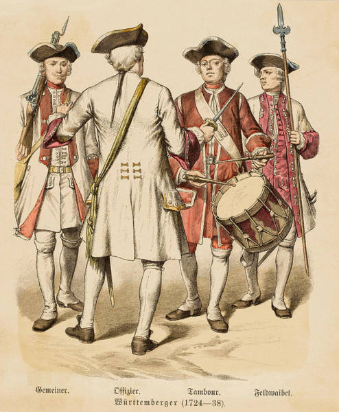 Wall Art - Drawing - German   Soldier, Officer And Drummer by Mary Evans Picture Library
