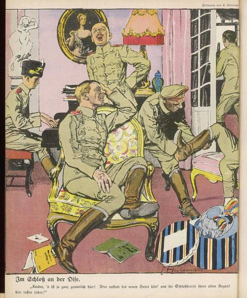 Chateau Drawing - German Soldiers Relax In The  Pleasant by Mary Evans Picture Library