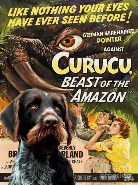German Pointer Painting - German Wirehaired Pointer Art Canvas Print - Curucu Movie Poster by Sandra Sij