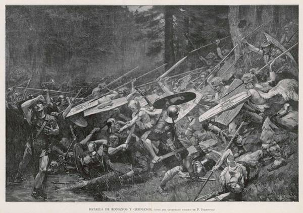 Roman Soldier Drawing - Germans Defend Their Land by Mary Evans Picture Library