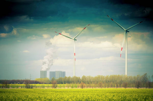 Pollution Photograph - Germany, Saxony, Wind Turbine With Coal by Westend61
