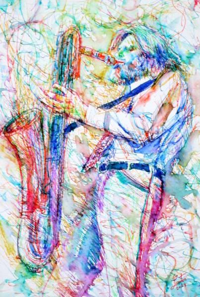 Sax Painting - Gerry Mulligan Playing by Fabrizio Cassetta