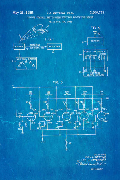 Seamen Photograph - Getting Global Positioning System Gps Patent Art 1955 Blueprint by Ian Monk