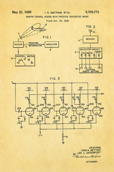 Seamen Photograph - Getting Global Positioning System Gps Patent Art 1955 by Ian Monk