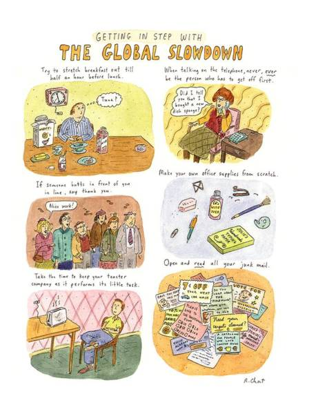 November 2nd Drawing - Getting In Step With The Global Slowdown by Roz Chast