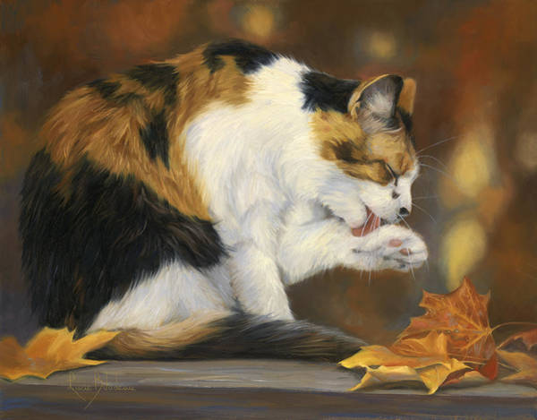 Calico Cat Painting - Getting Pretty by Lucie Bilodeau