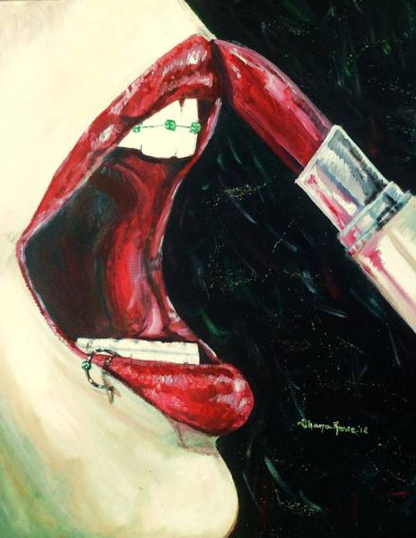 Lip Piercing Wall Art - Painting - Getting Ready For Prom by Shana Rowe Jackson