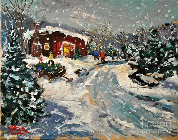 Yule Tide Painting - Getting The Christmas Tree by Russ Potak