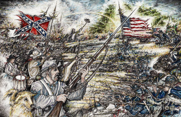 Confederate Soldier Drawing - Gettysburg Ash's At The Angle by Scott and Dixie Wiley