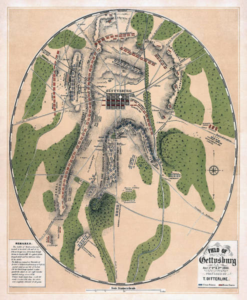 Gettysburg Address Wall Art - Photograph - Gettysburg Battle Map 1863 - Civil War by Daniel Hagerman