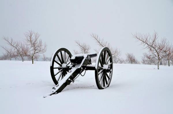 Photograph - Gettysburg Cannon In Winter by Bill Cannon
