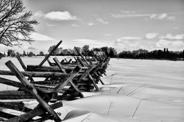 Snow Fence Digital Art - Gettysburg Fence In Snow by Bill Cannon
