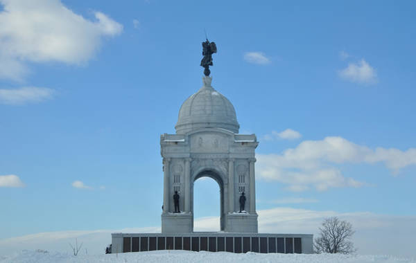 Photograph - Gettysburg Memorial In The Snow by Bill Cannon