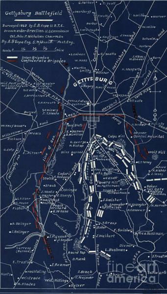Gettysburg Battlefield Wall Art - Digital Art - Gettysburg Blueprint  by Patricia Lintner