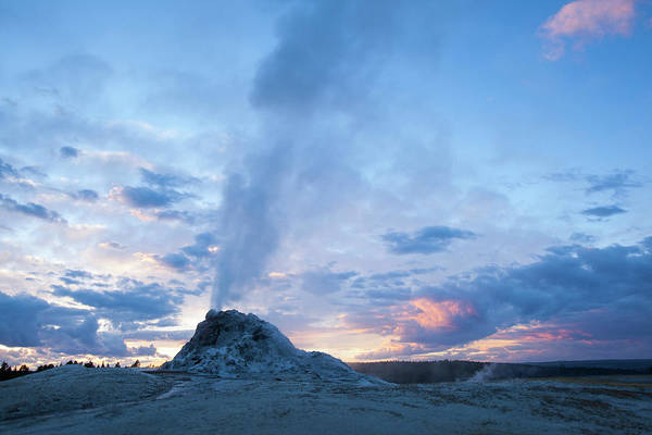 Released Photograph - Geyser Erupts At Sunset In Yellowstone by Noah Clayton