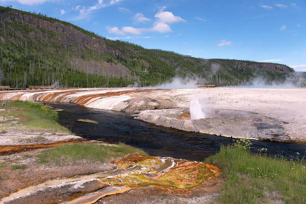 Upper Geyser Basin Photograph - Geysers & The River At Yellowstone by Gail Shotlander