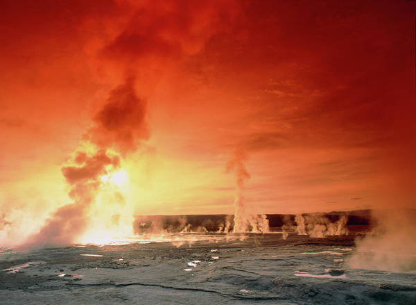 Geothermal Photograph - Geysers Steaming At Sunset by Tony Craddock/science Photo Library