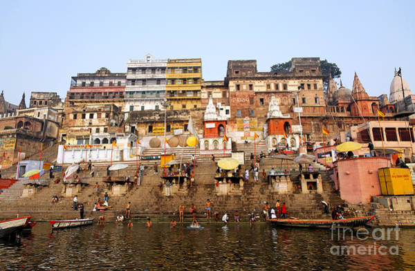 Ganges River Photograph - Ghats In The River Ganges At Varanasi In India by Robert Preston
