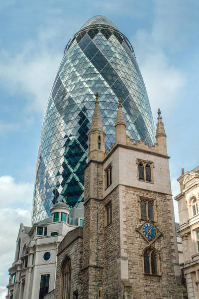 Photograph - Gherkin And St Andrew Undershaft by Gary Eason
