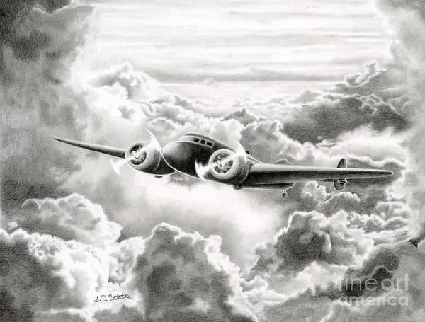 Flying Drawing - Ghost Flight- Amelia Earhart by Sarah Batalka
