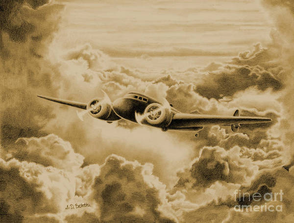 Plane Drawing - Ghost Flight- Amelia Earhart Sepia by Sarah Batalka