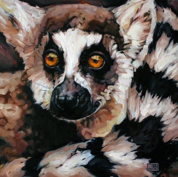 Ring-tailed Lemur Painting - Ghost Of Madagascar by Carrie Cook