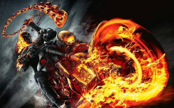 Digital Art - Ghost Rider And Bike by Movie Poster Prints