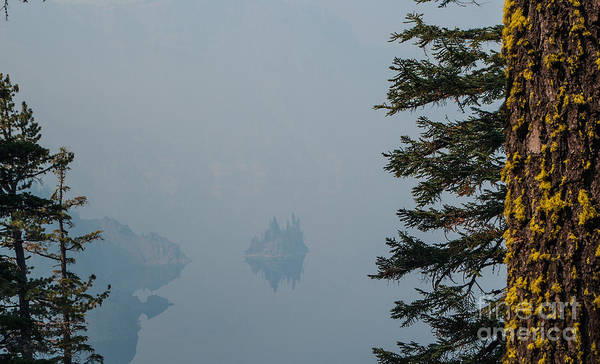 Crater Lake Np Photograph - Ghost Ship Island In Smoke 2.1030 by Stephen Parker
