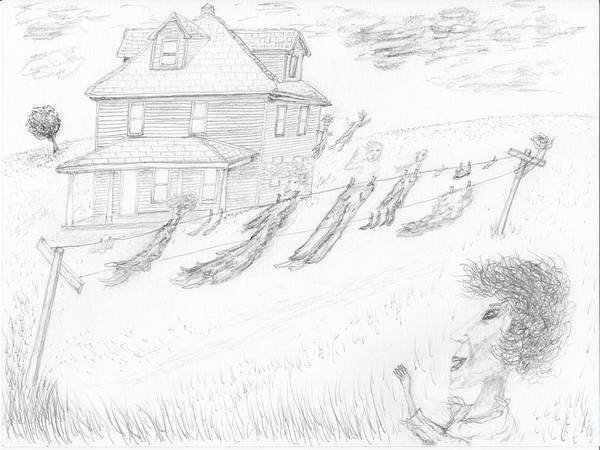 Haunted House Drawing - Ghosts On A Clothesline by Jim Taylor