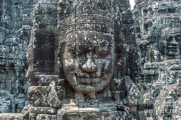 Giant Buddha Photograph - Giant Buddha Face Inside Bayon Temple - Angkor Wat - Cambodia by Matteo Colombo