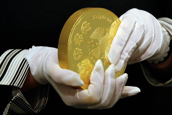 Legal Tender Photograph - Giant Gold Coin, Russia by Science Photo Library
