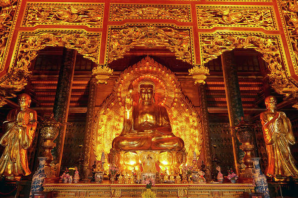 Buddhist Temple Wall Art - Photograph - Giant Golden Buddha, Bai Dinh Buddhist by David Wall