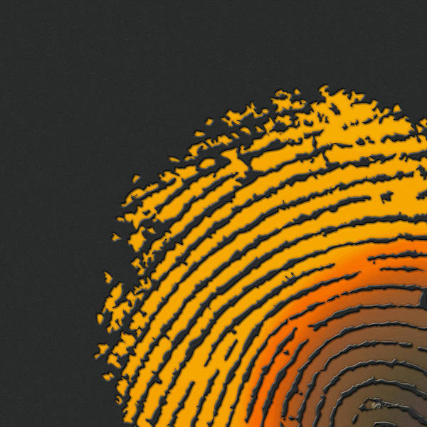 Digital Art - Giant Iridescent Fingerprint On Volcanic Rock Gray Set Of 4 - 1 Of 4 by Serge Averbukh