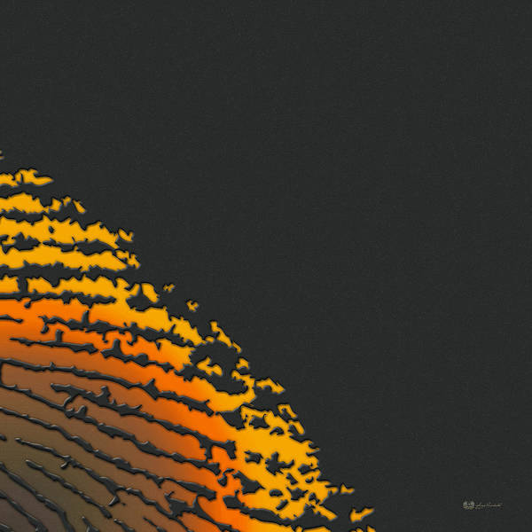 Digital Art - Giant Iridescent Fingerprint On Volcanic Rock Gray Set Of 4 - 2 Of 4 by Serge Averbukh