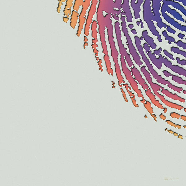Digital Art - Giant Iridescent Fingerprint On Wickham Gray Set Of 4 - 3 Of 4 by Serge Averbukh
