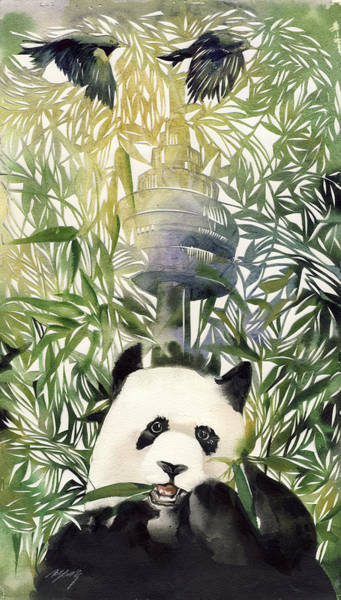 Painting -  Panda With  Toronto Cn Tower by Alfred Ng
