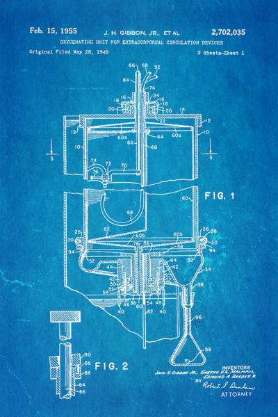 Inventor Photograph - Gibbon Heart-lung Machine Patent Art 1955 Blueprint by Ian Monk