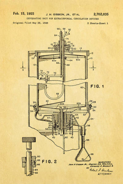 Inventor Photograph - Gibbon Heart-lung Machine Patent Art 1955 by Ian Monk