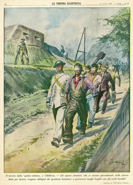Wall Art - Drawing - Gibraltar  Spanish Workers by Mary Evans Picture Library
