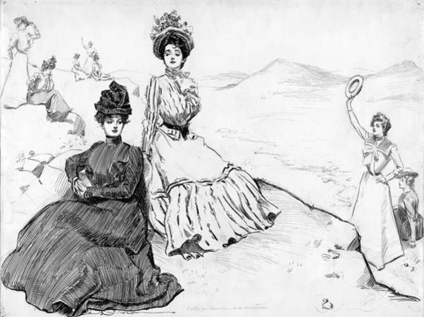 Hiking Drawing - Gibson Girls, C1900 by Granger